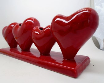 Valentine Red Puffy Heart Vase Home Decor Decoration Ceramic Glazed Four Hearts Flower Vase Art Deco Mothers Day Gift Art Nouveau
