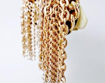 "Vintage Long Tassel Lariet Style Multi-Chain 2"" Dangling Brass Clip Gold Tone Earrings Retro Bohimian Hippie Runway Statement"
