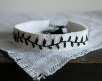 Hand Embroidered Cuff Bracelet -Simple Minimalist Black Vine on White Linen - Textile Art Jewelry - Gift Under 30 - Handmade by Sidereal