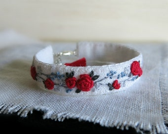 Red Rose Textile Art Bracelet