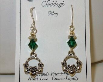 Irish Claddagh Swarovski Crystal Birthstone Earrings