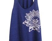 Indigo and Pale Nude Lotus Tri-Blend Racerback Tank Top hand printed by Blonde Peacock