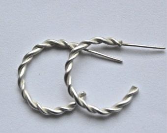 Handmade Sterling Silver Twisted Hoop Earrings, silver hoop earrings,modern earrings, contemporary earrings, twisted silver earrings