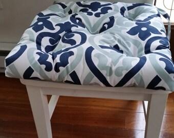 Set of 4, 6, 8 tufted chair pads, seat cushions, bar stool cushions, Alex premier navy blue