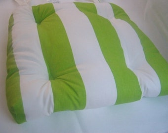 "RTS Tufted chair pad, seat cushion, bar stool cushion, vertical 3"" stripe chartreuse lime green and white cotton"