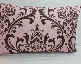 "RTS, Traditions damask toss pillow, 20 x 12"" lumbar, pink brown RTS"