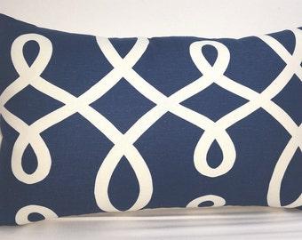 "Duralee loop de loop toss pillow, 20 x 12"" lumbar, navy blue and white RTS"