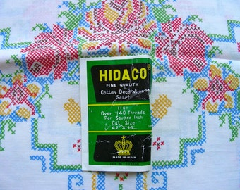 """Vintage HIDACO Cotton Table Runner Scarf  * Made in Japan * 15.5 x 41""""  * New Old Stock * Needs Embroidery"""