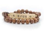 Personalized, quote bracelet, wrap bracelet, stacking bracelet, stamped bracelet, wooden bracelet, inspiration, bracelet, inspiring quotes