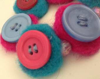 Needle Felted Button Bracelet With Stretch Band Pink and Blue Wool felt accessory