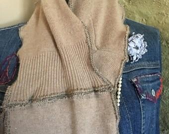 Camel cashmere sweater scarf