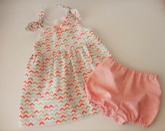 Baby toddler modern chevron design dress with tie shoulders melon peach and aqua chevron with bloomers