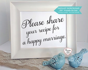 Wedding Printable SignageAdvice Sign Instant Download, Recipe for a happy marriage, Printable Sign, Instant Download 8x10 Printable,