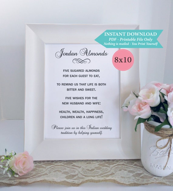 Five Sugared Almonds Printable Wedding Sign Jordan Almonds