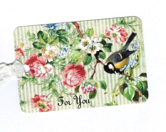 Tags, Gift Tags, Bird & Roses, For You, Birthday Tags, Bird Lover