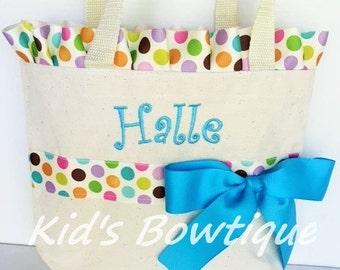Big Sister Gift Bag - Multi Polka Dot Ruffles and Bow Tote Bag- Monogrammed Flower Girl Gift Bag
