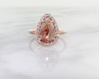 Rose Cut Rough Diamond Rose Gold Ring, Prismatic
