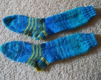 Socks - Handknitted Boy's Socks Size 5 - 5 1/2 in a Mix of Blue and Yellow