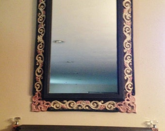 Vintage French Grey Mirror Shelf