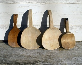 4 Vintage Primitive Wooden Kitchen Baking Serving Paddles Scoops