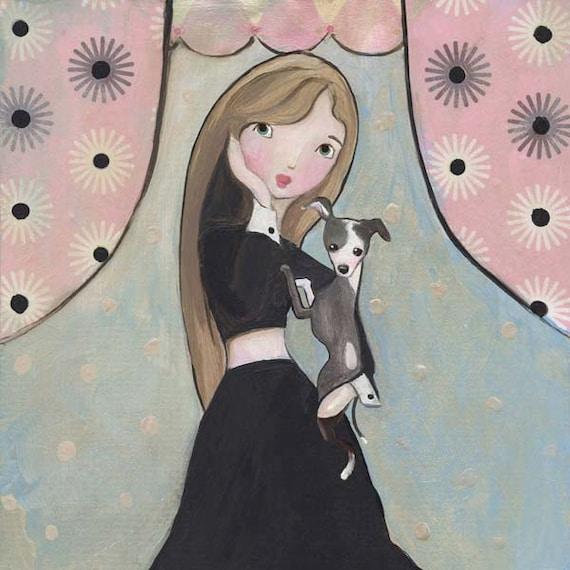 My Constant Companion Italian Greyhound Art Girl Art