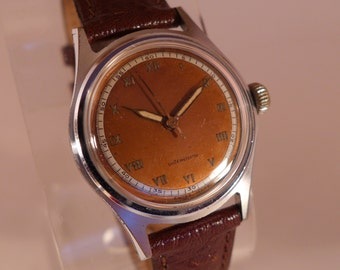 Vintage Swiss 15 Jewel Lovely Copper Dial Serviced Unisex