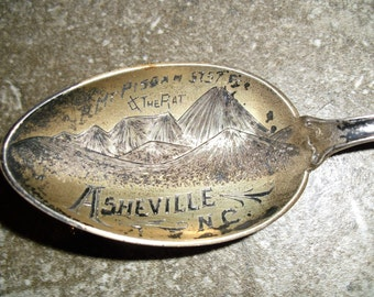 Vintage Souvenir Spoon Ashville North Carolina Souvenir Spoon Mt Pisgah Zodiac Sign Spoon Aries March Collectable
