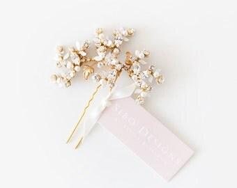 Brass Crystal Bridal Hair pin, Wedding Hair Accessory, Nature Inspired Bridal hair pin - Style 515