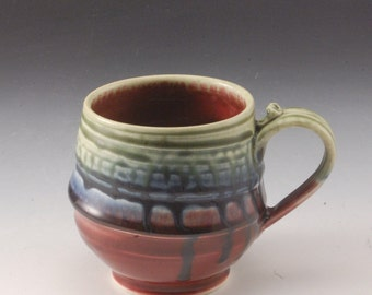 Red Blue and  Green Mug Handmade Pottery Porcelain by Mark Hudak