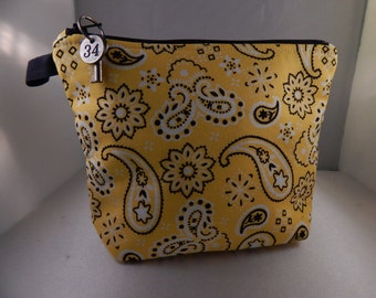 Yellow Black Bandana Print Makeup Bag Cosmetic Travel Bag Organizer Bag Cute