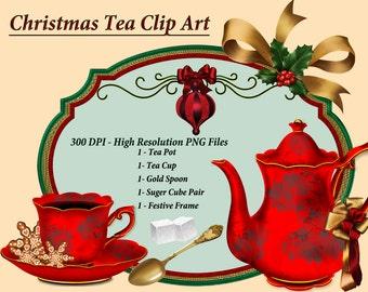 Christmas Tea Clip Art, Tea Cup Clipart, Tea Clipart