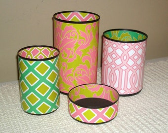Funky Pink and Green Desk Accessories, Tin Can Damask Pencil Holder, Fun Pencil Cup, Desk Organization, Office Decor,  Dorm Decor - 904