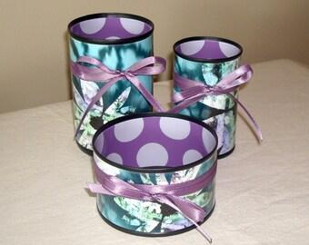 Teal and Purple Desk Accessories - Pencil Holder - Makeup Brush Holder - Pencil Cup - Desk Organizer - Bathroom Decor - Dorm Decor - 814