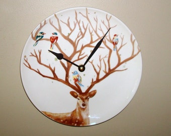 NEW! Deer Wall Clock 9 Inches SILENT, Animal Decor, Bird Clock, Deer Antler Tree Clock, Nursery Decor Clock for Cabin - 2167