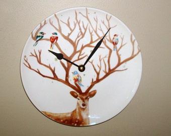 Deer Wall Clock 9 Inches SILENT, Animal Decor, Bird Clock, Deer Antler Tree Clock, Nursery Decor Clock for Cabin - 2167