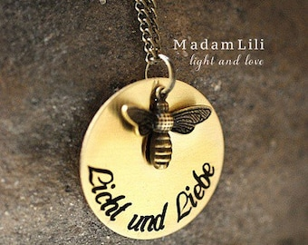 Light and Love Necklace with Inscription