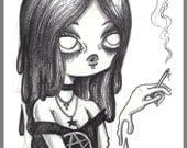 Day #137 - Oh My Goth  - Kawaii goth girl original sketch a day drawing! 5.5 x 8.5