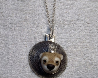 "Laura Mears and Fire and Ice foundry Sterling Silver necklace ""Royal Otter"" FREE SHIPPING!"