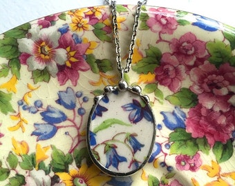 Broken china jewelry - oval pendant - antique Royal Winton Summertime chintz royal winton blue forget me not