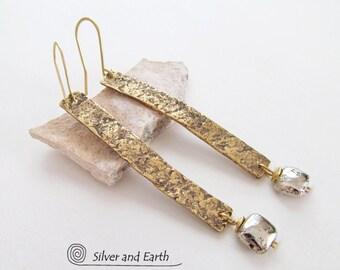 Long Bar Earrings, Hammered Brass Earrings, Gold Stick Earrings, Pyrite Earrings, Handmade Everyday Edgy Trendy Modern Minimalist Jewelry