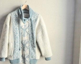 Vintage 80s Icelandic Blue and White Snowflake Wool Coat