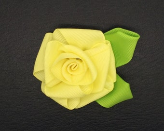 Rose In Bloom Snap-In Dog Bows® - Yellow, Dog Hair Flower, Best Pet Flower, Pet Collar Flower, Wedding Pet Flower, Harness Flower