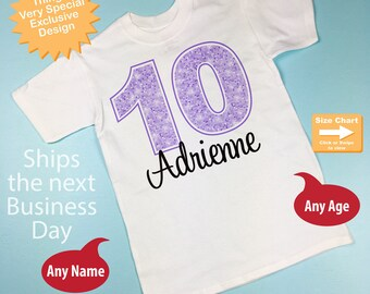 Tenth Birthday Shirt, Light Purple 10 Birthday Shirt, Any Age Personalized Girls Birthday Shirt Light Purple Age and Name 10242016a