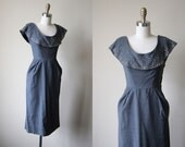 1950s Dress - Vintage 50s Dress - Charcoal Grey Wool Rhinestone Cocktail Party Dress S - Fogbank Dress