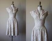1940s Dress - Vintage 40s Dress - Neutral Ivory Lace Linen Full Skirt Wedding Party Sundress S M - Juliette Dress