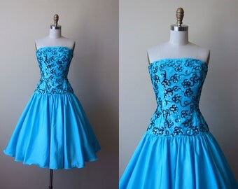 60s Dress - Vintage 1960s Dress - Mermaid Blue Border Lace Sequins Taffeta Strapless Party Dress S - Mike Benet Dress