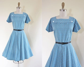 Vintage 1940s Dress - 40s Dress - Delphite Blue Black Deco Button Up Feed Sack Cotton Swing Day Dress L - Cursive Dress