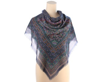 Large Bohemian Shawl Wrap Paisley Print Boho GIPSY Wool Like Oriental Print Hippie Festival Navy Blue Black Extra Large Nomad Scarf 44 inch