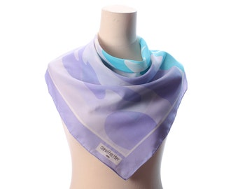 1970s Abstract Print Scarf Lovely Blue White PURPLE Light Mod Retro Neck Scarf 26 x 26 Square 70s Secretary Office Neck Scarf Gift Idea