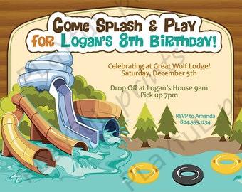 Indoor Waterpark Birthday Invitation